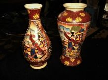 2 X ORIENTAL VASES DIFFERENT SHAPE SAME DESIGN BOLD MORIAGE GEISHA PANELS